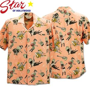 Star OF HOLLYWOOD × VINCE RAY(スターオブハリウッド×ヴィンス・レイ)Open Shirt『GIRLS'N'GUITARS』SH38375-162 Pink|d-park