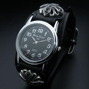 腕時計 メンズ Deep Zone 牛革レザーベルト腕時計 ブラックジルコニア シルバー925 コンチョ ブレス ウォッチ dzw15 オープン記念 セール|d-plus-genius