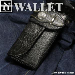 【エントリーでポイント10倍】財布 メンズ かっこいい レザーウォレット  クロコ 革 ロングウォレット/長財布/ブラック オープン記念 セール|d-plus-genius
