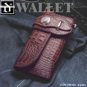 財布 メンズ かっこいい レザーウォレット サドルレザー クロコ型押し ロングウォレット/牛革/長財布/ブラウン オープン記念 セール|d-plus-genius