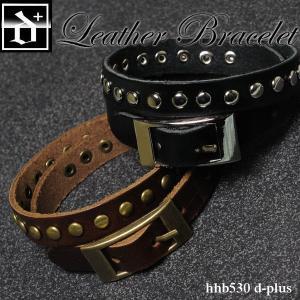 レザーブレスレット ブラウンゴールド&ブラックシルバー hhb530 オープン記念 セール メール便送料無料 d-plus-genius