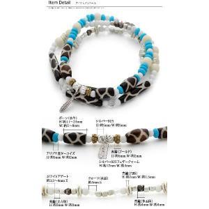 アリゾナ産ボタンターコイズ使用 天然石ぐる巻き3連ブレスレット ターコイズ ホワイトアゲート ホワイトボーン シルバー925 オープン記念 セール|d-plus-genius|03