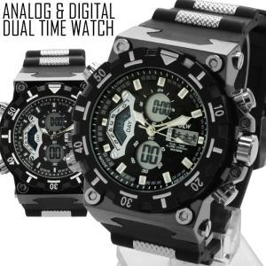 腕時計 メンズ アナログ デジタル ビッグ フェイス 腕時計 デュアルタイム オープン記念 セール|d-plus-genius