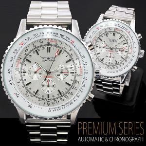 腕時計 メンズ  全針稼動の本格仕様  ビッグフェイス・自動巻き クロノグラフ 腕時計 オープン記念 セール|d-plus-genius