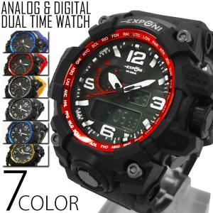 腕時計 メンズ  ビッグ フェイス アナログ デジタル 腕時計 ムーブメント オープン記念 セール|d-plus-genius