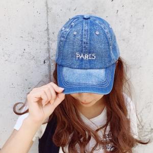 帽子 paris 刺繍 ロゴ入り デニム キャップ レディース メンズ オープン記念 セール|d-plus-genius|03