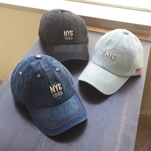 帽子 NYC 刺繍 ロゴ入り デニム キャップ メンズ レディース シンプル オープン記念 セール|d-plus-genius