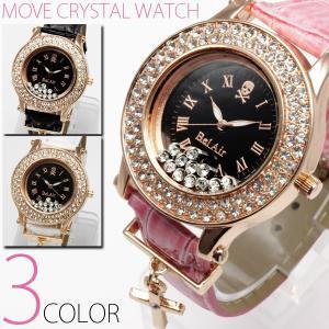 腕時計 レディース クロスチャーム付きムーブクリスタル腕時計 スカル ウォッチ オープン記念 セール|d-plus-genius