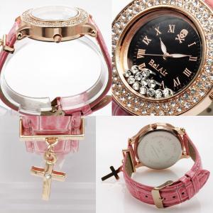 腕時計 レディース クロスチャーム付きムーブクリスタル腕時計 スカル ウォッチ オープン記念 セール|d-plus-genius|02