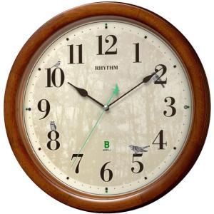 8MN408SR06 リズム時計 日本野鳥の会 四季の野鳥 報時掛時計408 電波掛時計の画像