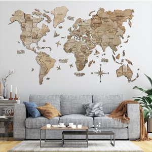 3D Wood World Maps 世界地図 木製 Lサイズ  Enjoy The Wood Japan d-tsutayabooks