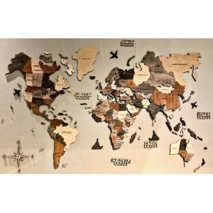 3D Wood World Maps 世界地図 木製 Mサイズ ナチュラル・ウッド Enjoy The Wood Japan d-tsutayabooks