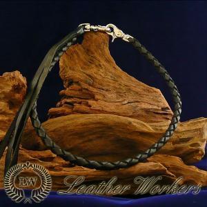 ウォレットロープ ブラック 4本編み レザーウォレットロープ ウォレットチェーン ウォレットコード レザーウォレット バイカーズウォレット WR-04|dabada