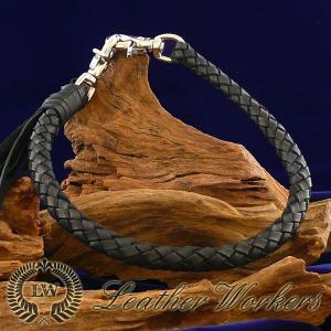 ウォレットロープ ブラック 8本編み レザーウォレットロープ ウォレットチェーン ウォレットコード レザーウォレット バイカーズウォレット WR-08|dabada