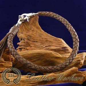 ウォレットロープ ブラウン 8本編み レザーウォレットロープ ウォレットチェーン ウォレットコード レザーウォレット バイカーズウォレット WR-07|dabada