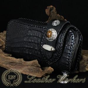 クロコダイルウォレット ダブルフラップ ロングウォレット レザーウォレット ワニ革 財布 サイフ メンズ CD-07|dabada
