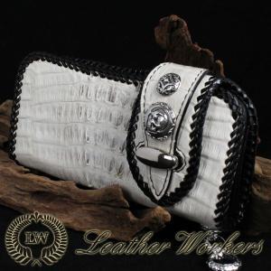 クロコダイルウォレット ダブルフラップ ロングウォレット レザーウォレット ワニ革 財布 サイフ メンズ CD-09|dabada