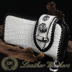 【CD-08】クロコダイルウォレット ダブルフラップ ロングウォレット レザーウォレット ワニ革 財布 サイフ メンズ [CON]|dabada