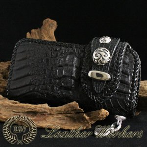 クラウン クロコダイルウォレット ダブルフラップ ロングウォレット レザーウォレット ワニ革 財布 サイフ メンズ CD-11|dabada