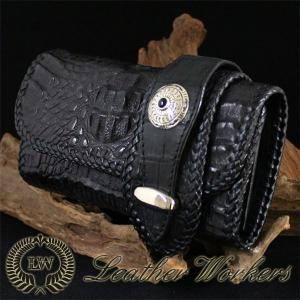 クロコダイルウォレット ロングウォレット 三つ折り レザーウォレット ワニ革 財布 サイフ メンズ CD-15|dabada
