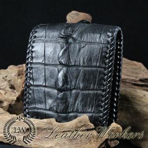 クロコダイルウォレット ショートウォレット 二つ折財布 クロコダイル メンズ財布 革財布 ハンドメイド 長財布 CD-22-B|dabada