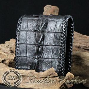 クロコダイルウォレット ショートウォレット 二つ折財布 クロコダイル メンズ財布 革財布 ハンドメイド 長財布 CD-22-C|dabada