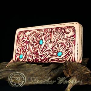 【FDC】ファスナーウォレット 透かし彫りカービングウォレット 牛革 メンズ財布 革財布 ハンドメイド|dabada