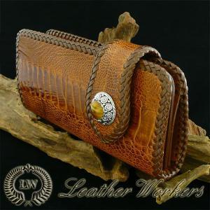財布メンズ長財布ロングウォレット 駝鳥 オーストレッグウォレット ライトブラウン レザーウォレット OR-01|dabada