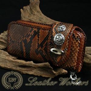 パイソンウォレット ダブルフラップ ダイヤモンドパイソン ロングウォレット ライダースウォレット レザーウォレット 財布 サイフ さいふ PH-05|dabada