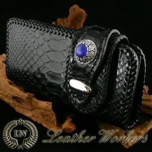 パイソンウォレット ブラック バックカット レザーウォレット ライダースウォレット バイカーズウォレット ロングウォレット ダイヤモンドパイソン PH-15|dabada