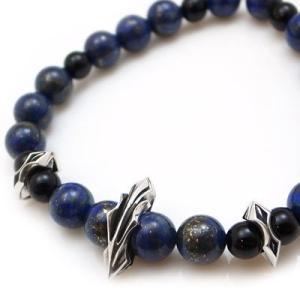 パワーストーン 数珠 天然石 ブレスレット シルバー ラピスラズリ オニキス メンズ シルバー925 人気 プレゼント dagdart ダグダート|dagdart