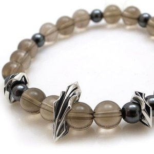 パワーストーン 数珠 天然石 ブレスレット シルバー スモーキークォーツ ヘマタイト メンズ シルバー925 人気 プレゼント dagdart ダグダート|dagdart