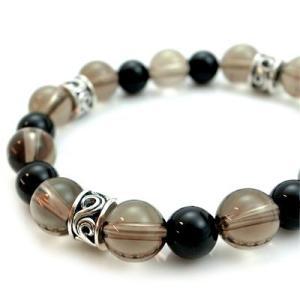 パワーストーン 数珠 天然石 ブレスレット シルバー スモーキークォーツ オニキス メンズ シルバー925 人気 プレゼント dagdart ダグダート|dagdart
