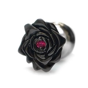 ラペルピン 薔薇 ローズ スーツ シルバー ブラックコーティング ルビー メンズ シルバー925 人気 プレゼント dagdart ダグダート|dagdart