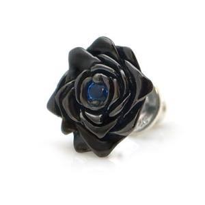 【在】[black beauty] 薔薇/バラ モチーフ  ブラックコーティング シルバー ピアス(ブルースピネル合成) DP-097BSPG|dagdart