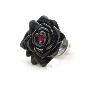 [black beauty] 薔薇/バラ モチーフ  ブラックコーティング シルバー ピアス(ルビー合成)  DP-097RBG|dagdart