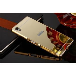 黄金版 鏡面プレート Xperia Z5/Z5 Premium アルミバンパーケース バックプレート...