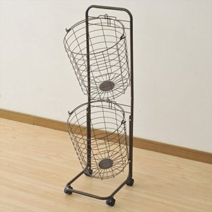 山善(YAMAZEN) ランドリーバスケット 2段 キャスター付き ダークブラウン RLB-2C(D...
