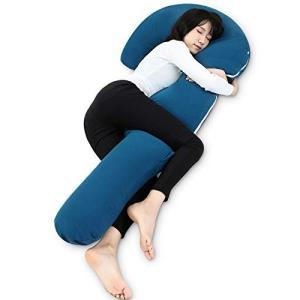 抱き枕 本体 抱きまくら ネックピロー J型 中身 等身大 洗えるカバー 160cm ネイビー Marine Moon|dai-king