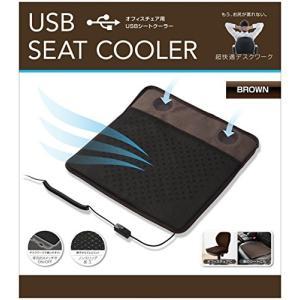 グリーンハウス オフィスチェア用 USBシートクーラー パワフル&静音 2つのファンで座面から優しく送風 ブラウン GH-COOLSC-BR|dai-king