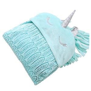 毛布 ユニコーン ブルー 大人 子供 居心地の良い 寝具 マント 羽毛柄 ひざ掛け (青)|dai-king