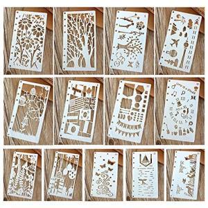 図面テンプレート ステンシル 描画ツール 塗り絵 製図用品 日記 手帳用 教育用 絵画学習 DIY定規 子供たちに 可愛い 13枚セット|dai-king