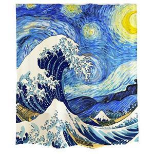 Orange Designゴッホ 星空 日本風 デザイン 浮世絵シャワーカーテン 浴室装飾 神奈川 サーフィン青い油絵の風格 星 月 波 ブルー 白|dai-king