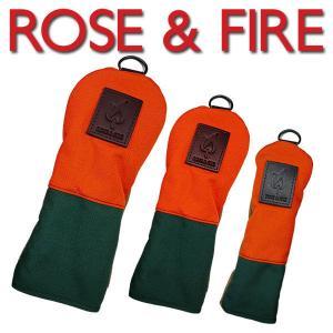 ローズアンドファイアー ヘッドカバー オレンジ/グリーン/ベージュ ROSE&FIRE(DR用、FW用、UT用)※単品販売となります。 daiichigolf