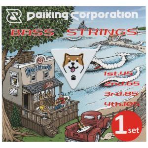 DaikingDAB-451&SIBA-BASSピックセット ロングスケールのベース弦に柴犬ベースピックが1枚付いたセットです。|daikingcorporation
