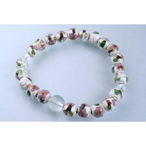 数珠 パワーストーン ブレスレット 腕輪数珠 七宝焼 白 水晶|daikokuya-b