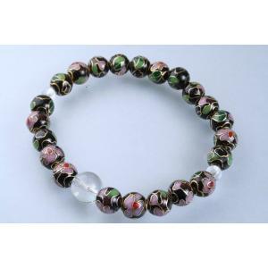 数珠 パワーストーン ブレスレット 腕輪数珠 七宝焼 黒 水晶|daikokuya-b