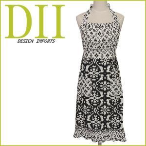 エプロン DII design ( ディーアイアイ )インポートエプロン ブラック&ホワイトプリント 26989 アラベスクデザイン|daily-3