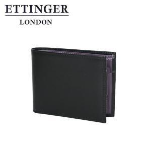 エッティンガー メンズ二つ折り財布小銭入れ付 パープル コレクション 141JR  ブラック|daily-3