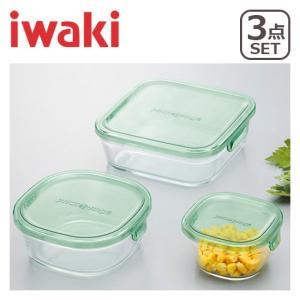 iwaki(イワキ)パック&レンジ 角型3点セット グリーン PSC-PRN3G1 耐熱ガラス 保存容器 daily-3